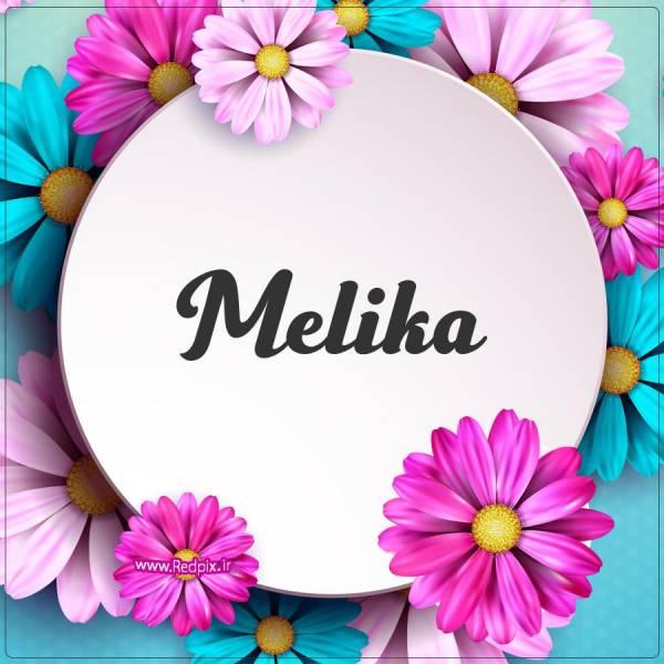 ملیکا به انگلیسی طرح گل های صورتی