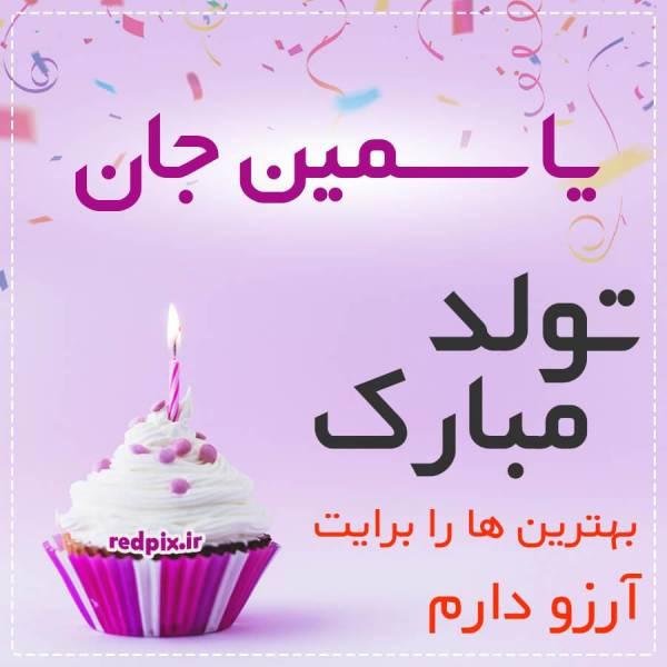 یاسمین جان تولدت مبارک عزیزم طرح کیک تولد