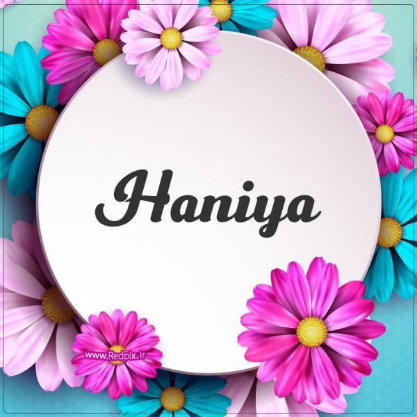 هانیا به انگلیسی طرح گل های صورتی