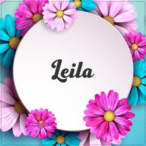 لیلا به انگلیسی طرح گل های صورتی
