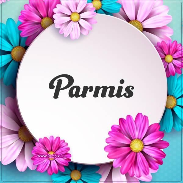 پارمیس به انگلیسی طرح گل های صورتی